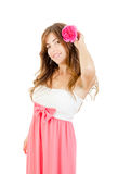 Lady with flower in her hair Royalty Free Stock Photos