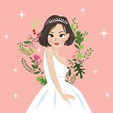 Lady and flower vintage style royalty free illustration