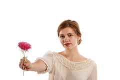 Lady with a flower. A young elegant lady offering a pink flower royalty free stock images