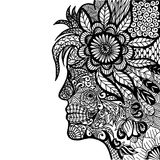 Lady Flower Zentangle Stock Image