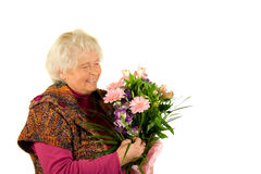 Lady with flowers Royalty Free Stock Image