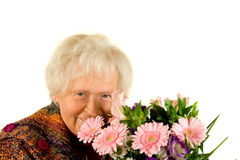 Lady with flowers Stock Photography