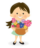Lady with flowers stock illustration