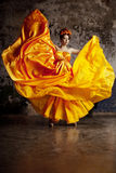 Lady in flying silk dress Royalty Free Stock Images