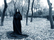 Lady of the forest. Woman in black cape Royalty Free Stock Photography