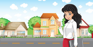 A lady with a formal attire standing across the neighborhood. Illustration of a lady with a formal attire standing across the neighborhood Stock Photography