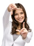 Lady frame gesturing Royalty Free Stock Images