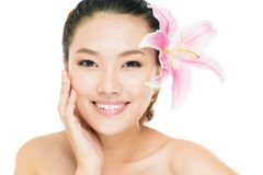 Lady freshness. Portrait of a fresh young woman enjoying the smoothness of her skin Stock Photo