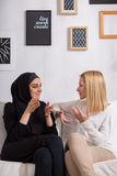 Lady friends talking together royalty free stock images