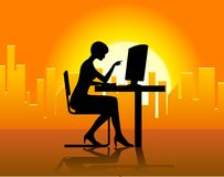 Lady In Front Of Computer Stock Image