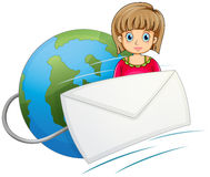 A lady in front of the globe with a mail Royalty Free Stock Images