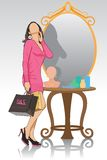 Lady in front of Mirror. Easy to edit vector illustration of lady in front of mirror stock illustration