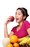 Lady with fruits Stock Photography