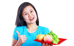 Lady With Fruits And Vegetables Stock Image