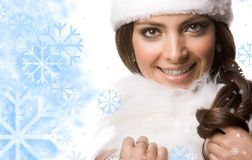 Lady with fur Royalty Free Stock Images
