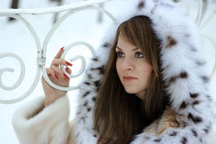 Lady in fur Royalty Free Stock Photos