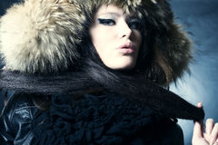 Lady in fur cap Royalty Free Stock Photography