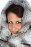 Lady with fur cap Royalty Free Stock Photo