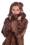 Lady in a fur coat. Royalty Free Stock Photography
