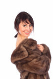 Lady in fur coat. Lady fur coat muton naked Stock Photo