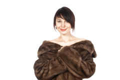 Lady in fur coat. Beautiful lady in fur coat of muton Stock Photo