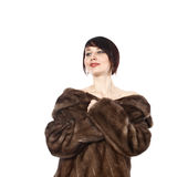 Lady in fur coat. Beautiful lady in fur coat of muton Royalty Free Stock Photos