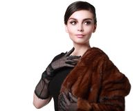 Lady in a fur coat Stock Image