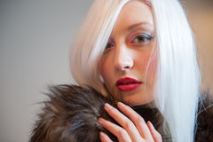 Lady in fur Royalty Free Stock Image