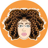 Lady. Fuzzy Curls. Royalty Free Stock Photography
