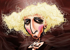 Lady Gaga caricature. Caricature of Stefani Joanne Angelina Germanotta better known as Lady Gaga Stock Image