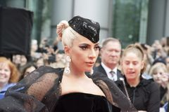 Lady Gaga at premiere of `A Star Is Born` wearing Armani Privéat at Toronto International Film Festival. Actress Lady Gaga at premiere of A Star Is Born in royalty free stock images