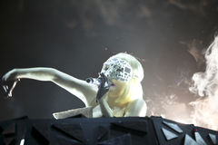 Lady gaga singing in Cologne. Lady gaga singing during her recent european tour taken in Cologne July 2009 Stock Photos