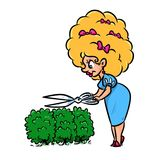 Lady gardener haircut bushes cartoon illustration Royalty Free Stock Images