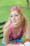 Lady Gaze. Lady sitting and has a gaze look Stock Image