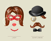 Lady and gentleman fancy dress. In retro style Royalty Free Stock Photo
