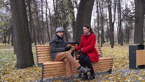 Lady and gentleman in park. Talk, drink hot drink. Bench, retro style stock video