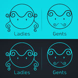 Lady and gentleman symbol.Toilet Sign in kids cute style Royalty Free Stock Photos