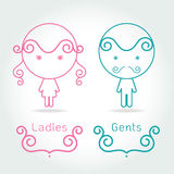 Lady and gentleman symbol.Toilet Sign in kids cute style Royalty Free Stock Images