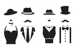 Lady and Gentleman Symbols. Gentleman and Lady Symbols. Man and Woman Silhouettes Stock Photo