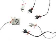 Lady and gentlemen. Isolated socket and plugs composition, 3 x 300 Watt halogen lamps Stock Photo