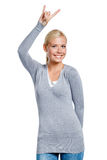 Lady gesturing rock sign Royalty Free Stock Images