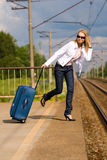 Lady is getting a move on the train Royalty Free Stock Images