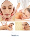 Lady getting spa treatment. Different pictures of women relaxing in spa. Health, recreation and massaging therapy. Lady getting spa treatment. Different royalty free stock image