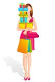 Lady with Gift Box Stock Image
