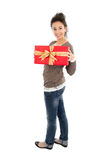 Lady with gift box Royalty Free Stock Images