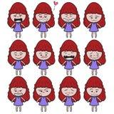Lady girl Girl women cute beautiful elegant cartoon design abstract illustration Stock Photos