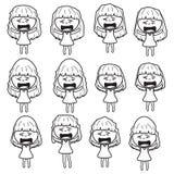 Lady girl Girl women cute beautiful elegant cartoon line sketch shape  design abstract illustration Royalty Free Stock Images