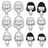 Lady girl Girl women cute beautiful elegant cartoon line sketch shape  design abstract illustration Stock Photos
