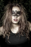 Lady.Girl.Veni ce carnival mask Close-up female portrait.in fore Royalty Free Stock Photography
