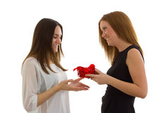 Lady giving a gift Royalty Free Stock Images